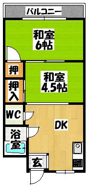 【ニタカビル 2DK】間取図面
