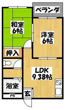 【ナカトミハイツ 303号】間取図面