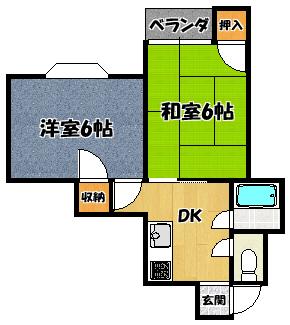 【プチシャトー大和田(2DK)】間取図面