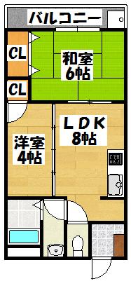 【大成ビル508(2LDK)】間取図面