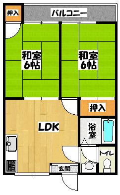 【カトレヤ(2LDK)】間取図面