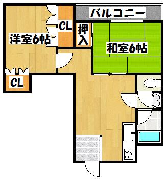 【大成ビル701(2DK)】間取図面