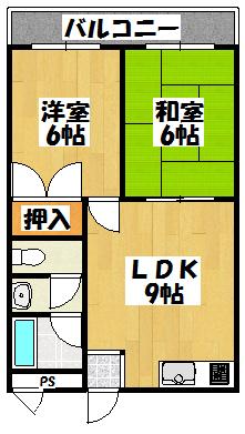 【平成ハイツ(2LDK)】間取図面