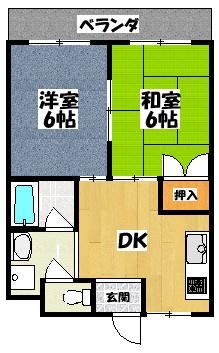 【パレ月出(2DK)】間取図面