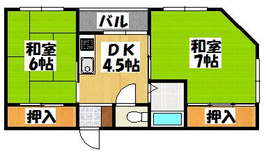 【川島第7ビル2DK】間取図面