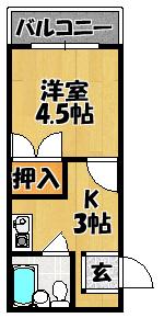 【アクティコート(5A号室 20.7m3)】間取図面