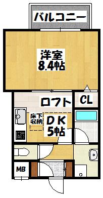【エムズフラットⅡ(201号)】間取図面