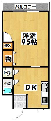 【ニタカビル1LDK】間取図面