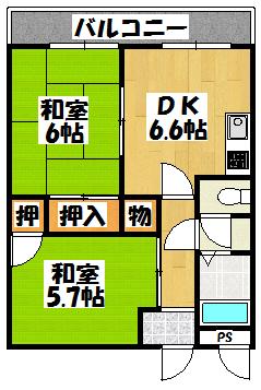 【橋本マンション堂山(振り分けタイプ)】間取図面
