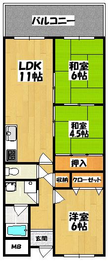 【アドラブールウエスト(3LDK)】間取図面