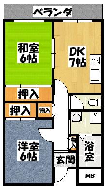 【アドラブール古川橋(2DK)内なし】間取図面