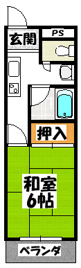 【コムズスクエア大日(1K)】間取図面