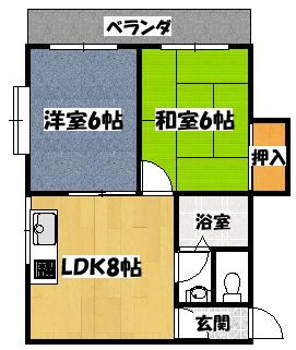 【川島第16ビル(第8大丸ビル)2LDK】間取図面