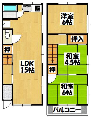 【大村貸家_藤田町6-9-16】間取図面