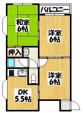 【川島第16ビル(第8大丸ビル)3DK】間取図面