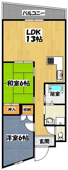 【天神マンションⅡ203】間取図面