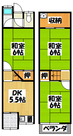 【石原町14-25_木村貸家】間取図面