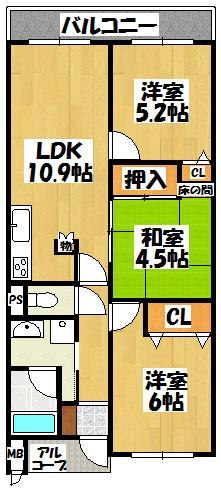 【KDXレジデンス守口(旧レガーロ守口)703】間取図面