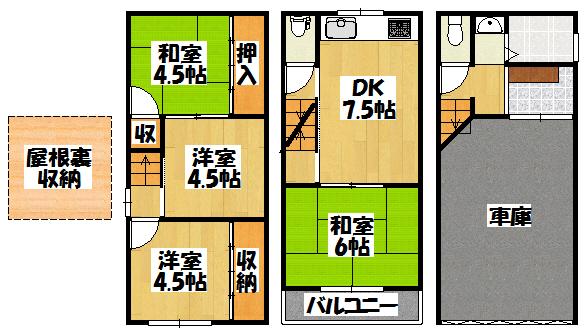 【大久保町3-11-18_センチュリー21ハウスゲート貸家】間取図面