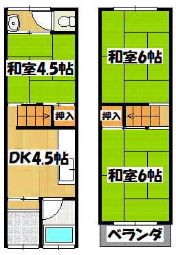 【田中貸家】間取図面