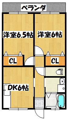 【クレイル古川橋2DK】間取図面