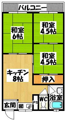 【シャトー三ツ島】間取図面