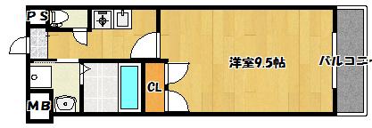【リバティ西三荘】間取図面