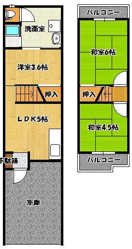 【五月田町貸家】間取図面