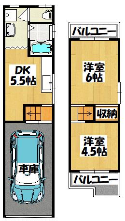 【守口市藤田町1丁目シャッターガレージ付き貸家】間取図面