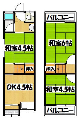 【寝屋川市堀溝2丁目貸家】間取図面