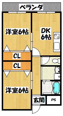 【門真市末広町の2DK賃貸マンション!】間取図面