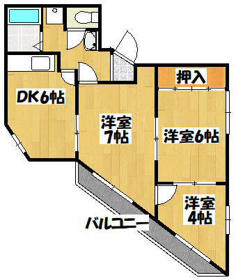 【門真市月出町3DK賃貸マンション!】間取図面